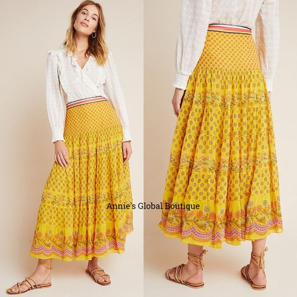 Details about  /Anthropologie Calinda Maxi Skirt Size 10
